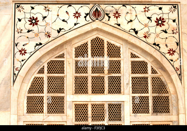 Polychrome inlay with floral designs; Taj mahal ; Agra ; Uttar Pradesh ; India - Stock Image