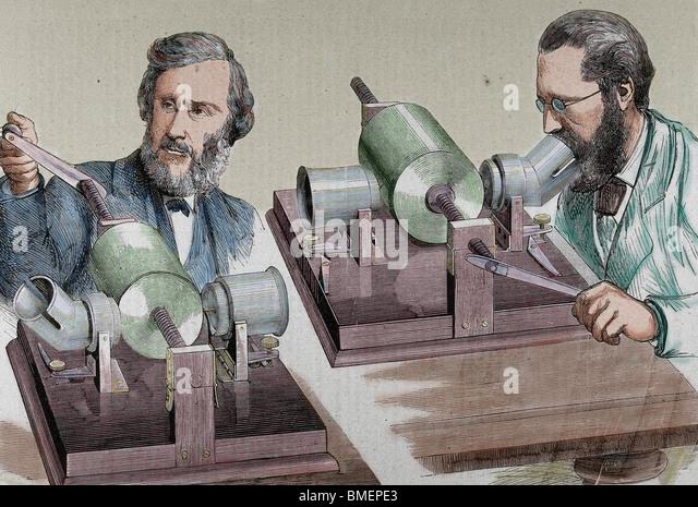 Phonograph. Created in 1877 by Thomas Alva Edison (Milan, Ohio, 1847-West Orange, 1931). Colored engraving. - Stock Image