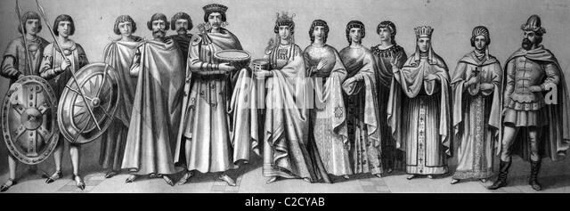 Cultural history in antiquity, from left: Roman Emperor Justinian, 484-565, with court officials and guard, his - Stock-Bilder