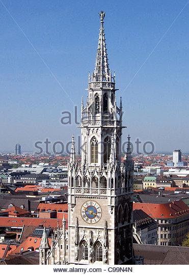 Munich Town Hall Tower Hausdcher - Stock-Bilder