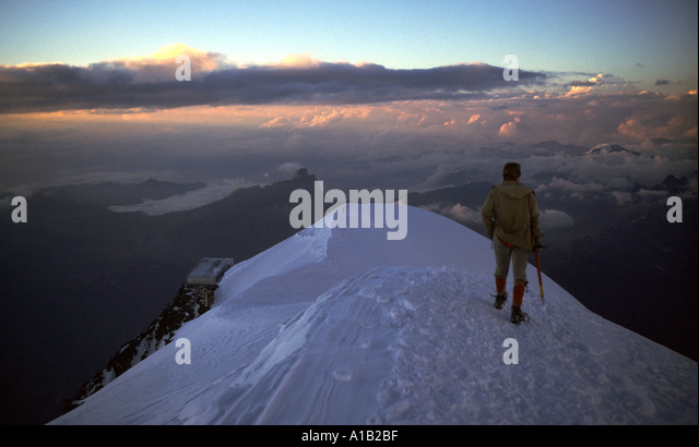 Evening on the Aiguille du Goûter, Mont Blanc, French Alps, France - Stock Image