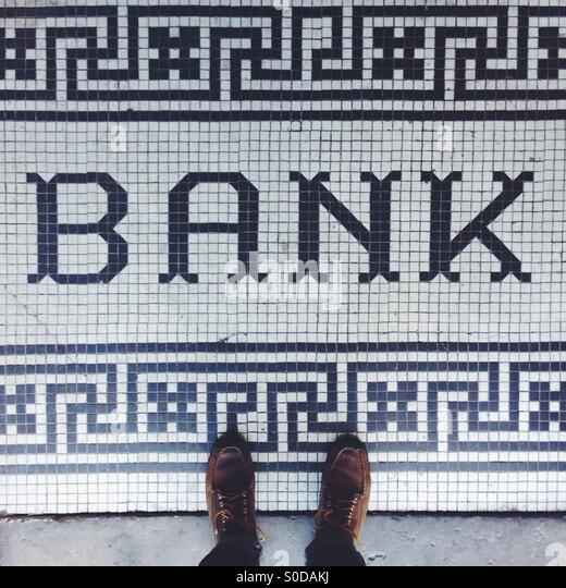 Bank Floor Tiling - Stock Image