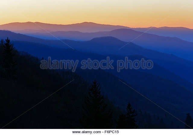 Sunrise from Oconaluftee overlook, Geat Smoky Mountains National Park, - Stock Image