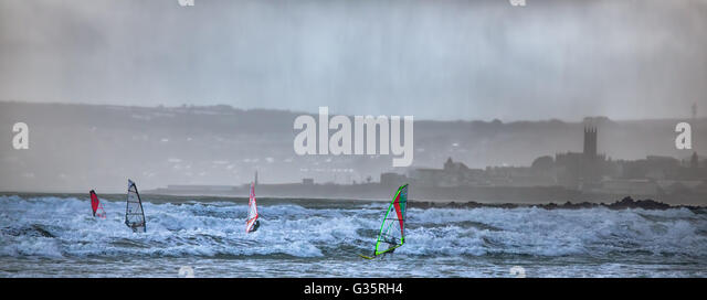 Wind surfing in mounts bay,cornwall,UK - Stock Image