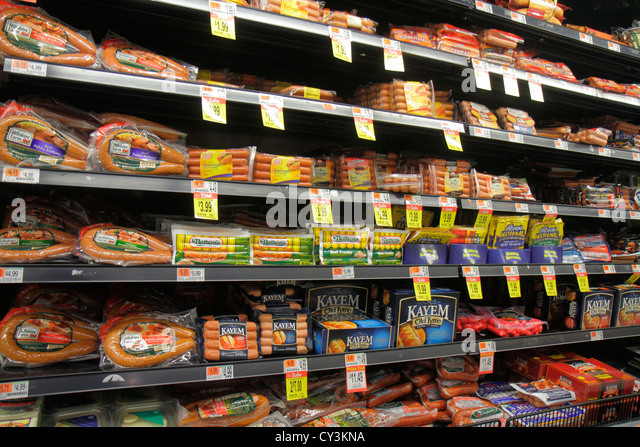 Portland Maine Scarborough Shaw's grocery store supermarket retail display for sale packaging competing brands - Stock Image