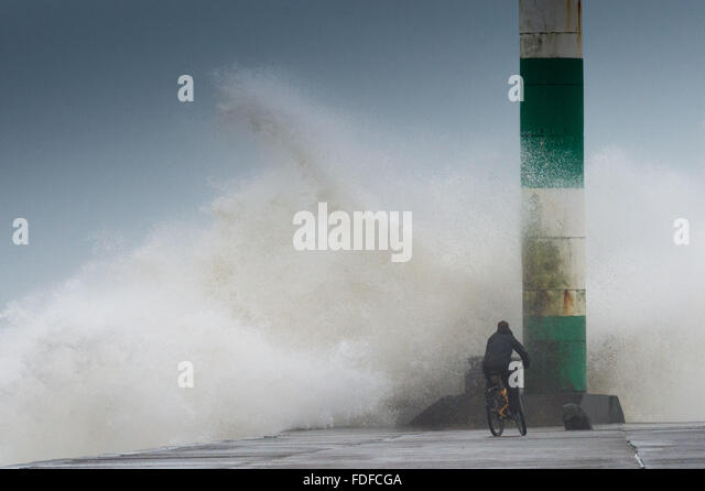 Aberystwyth Wales, UK. 31st January, 2016. As Storm Gertrude yields its place to the next named storm system, Storm - Stock Image