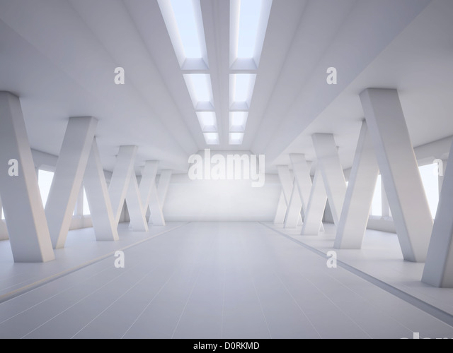 abstract architecture white interior - Stock Image
