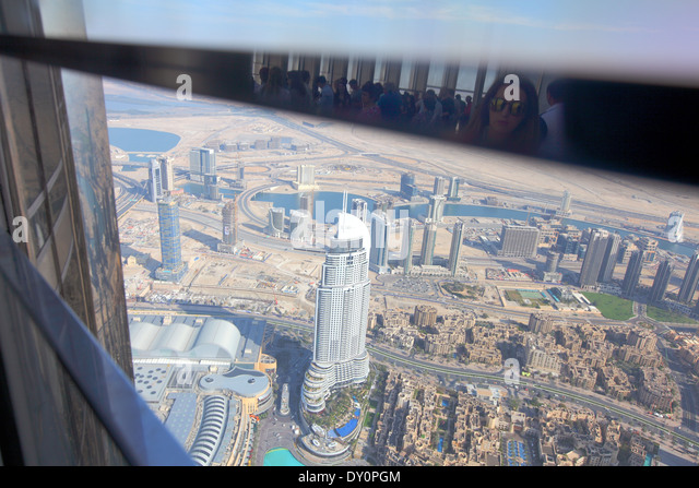 Downtown, Dubai, viewing platform, skyscraper, deck, Burj Khalifa, Burj park - Stock Image