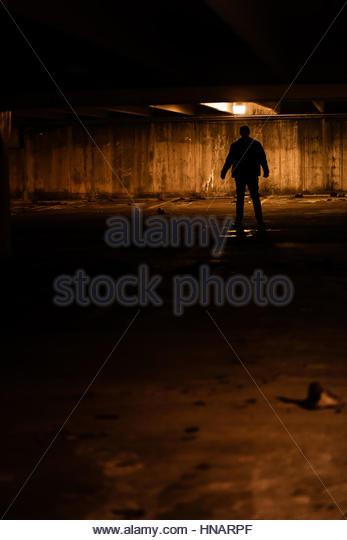 Silhouette of mysterious man - Stock-Bilder