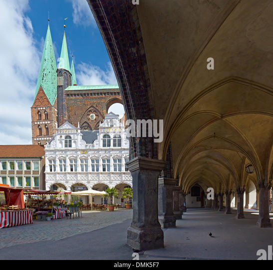 St. Marys Church, City Hall with arcades at market square, Hanseatic City of Lübeck, Schleswig-Holstein, Germany - Stock Image