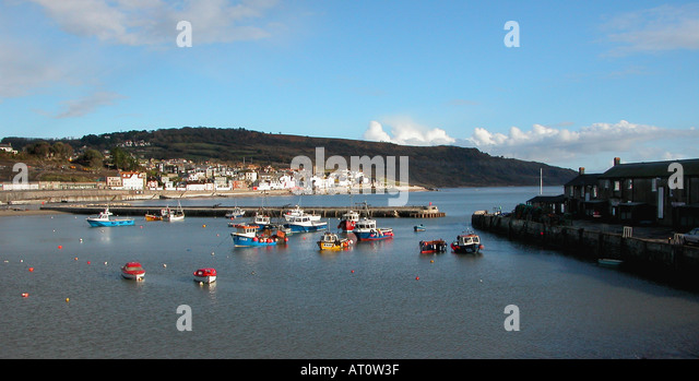 The Harbour and town of Lyme Regis Dorset England - Stock Image