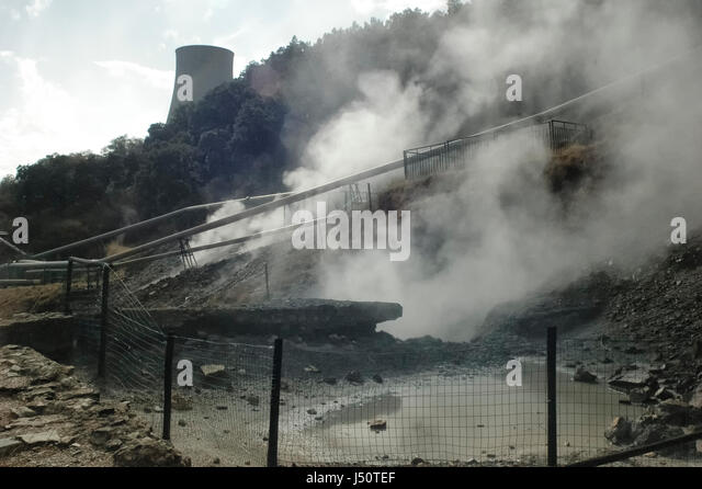 View of the vapor of geothermal energy - Stock Image