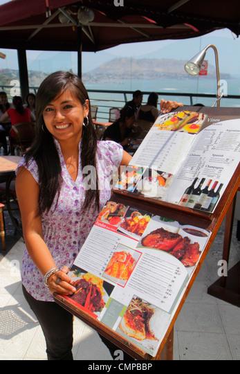 Lima Peru Miraflores Malecon de la Reserva Larcomar shopping dining lifestyle center centre restaurant alfresco - Stock Image