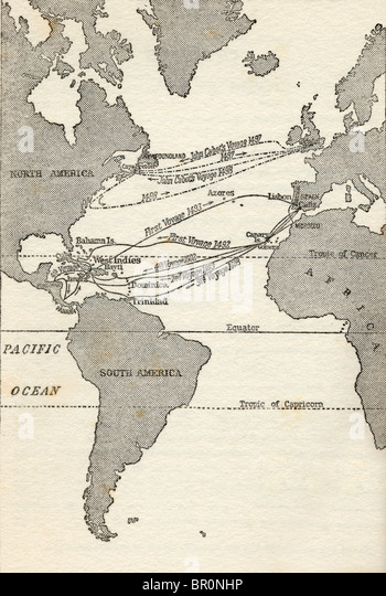 Map showing the voyages of Christopher Columbus and John Cabot. - Stock-Bilder