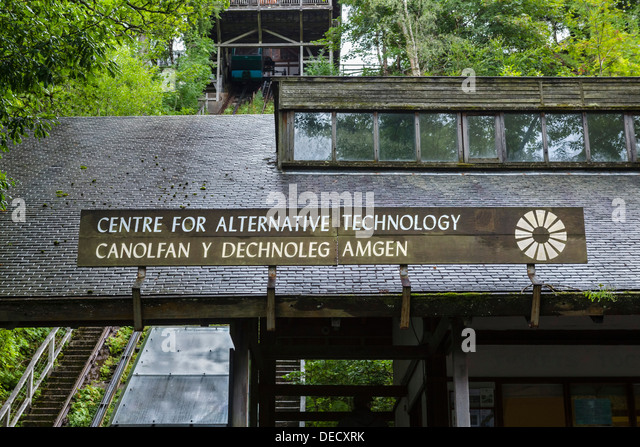 Centre for Alternative Technology entrance with water balanced funicular railway to the left, near Machynlleth, - Stock Image