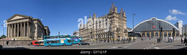 Lime Street Panorama, including St Georges Hall, Mainline Railway Station - Stock Image