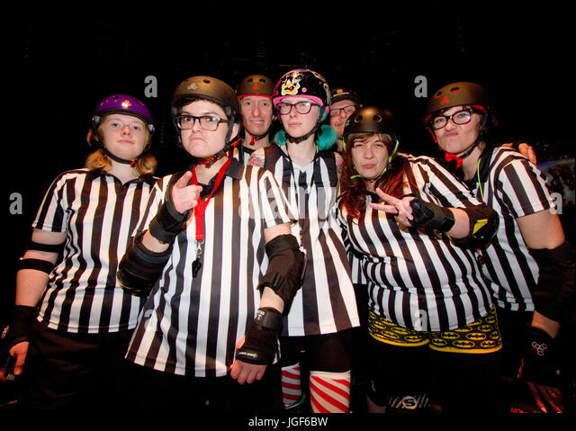 Roller derby referees - Stock Image
