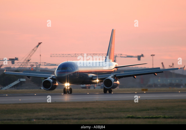 Airbus A320 BMI on runway at London Heathrow Airport UK - Stock Image