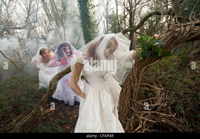 three young women dressed as brides taking part in a Zombie bride 'trash the wedding dress' shoot in a woodland - Stock Image