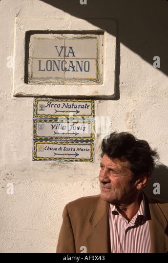 Italy Isle of Capri Tyrrhenian Sea Capri Town Piazza Umberto I Via Longano male resident ceramic tile sign - Stock Image