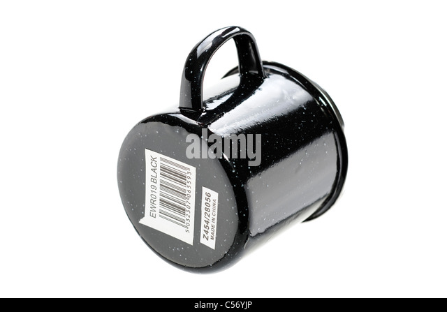 Underside of a black enamel tin mug showing barcode and Made in China label - Stock Image