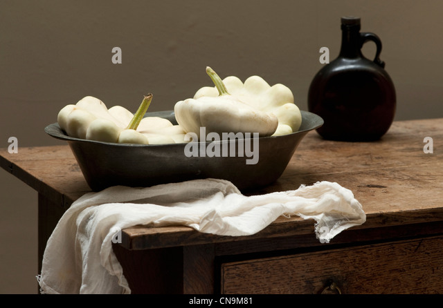 White squash on rustic table - Stock Image