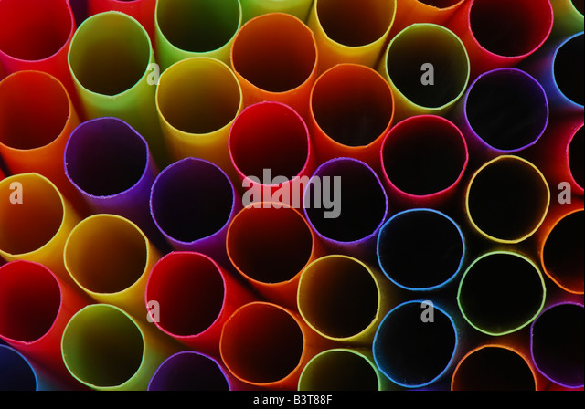 Abstract of ends of multicolored drinking straws. - Stock Image
