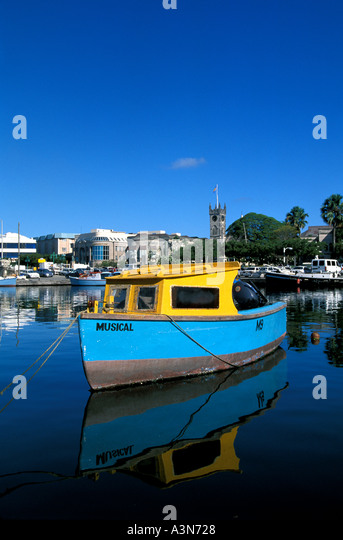 Barbados Bridgetown Old Flying Fish Boats - Stock Image