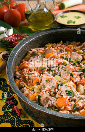 Madagascan food, Vary Amin Anana, beef with rice and vegetables, Madagascar, Africa - Stock-Bilder