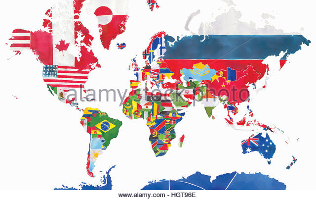 Watercolor map of the world and national flags - Stock-Bilder