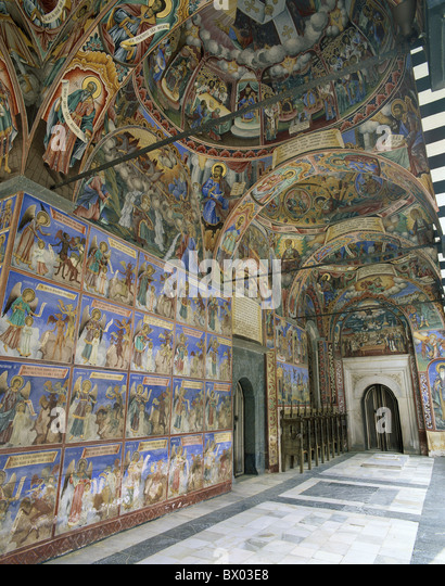 Bulgaria frescoes inside paintings orthodox church religion Rila cloister Switzerland Europe UNESCO world - Stock-Bilder