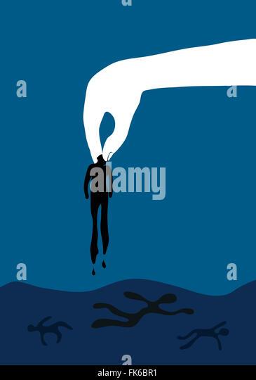 Refugees drowning at sea - Stock Image