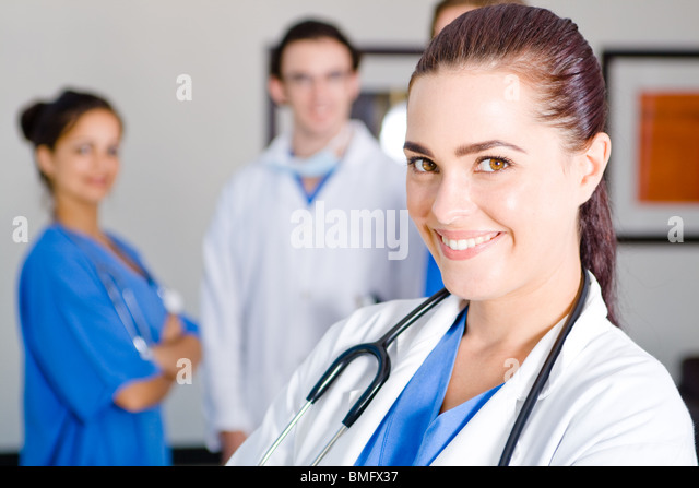 young female nurse in hospital - Stock Image