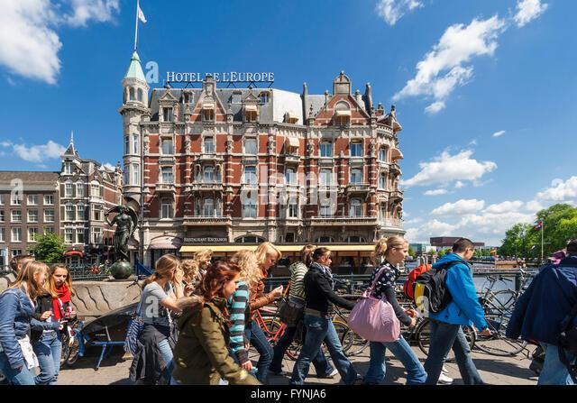 Amsterdam Hotel de l Europe school classAmsterdam, Netherlands - Stock Image
