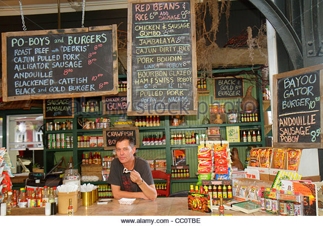 Louisiana New Orleans French Quarter National Historic Landmark Historic French Market local products shopping dining - Stock Image