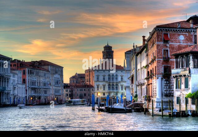 The Grand Canal at Sunset. Venice Italy - Stock Image
