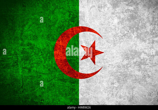 flag of Algeria or Algerian banner on scratched vintage texture - Stock Image