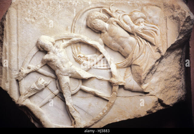 The Punishment of Ixion. c2nd AD Greek Marble Carving from Side, southern Turkey. In Greek Mythology Ixion, King - Stock Image