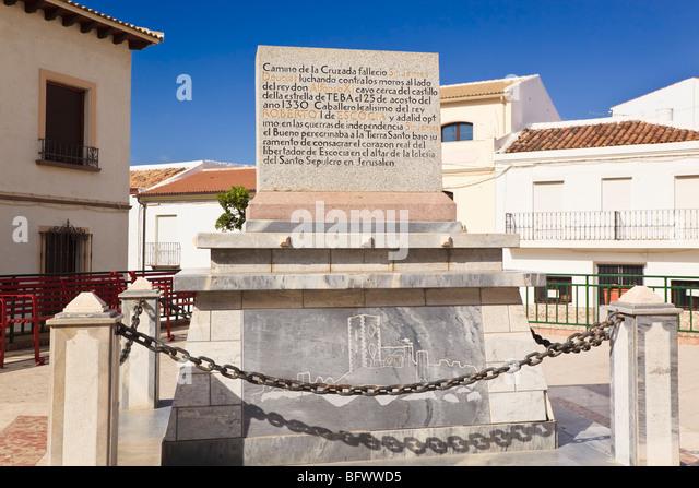 Teba, Malaga Province, Spain. Plaque commemorating Scotland's Sir James Douglas, Lord of Douglas, killed in - Stock Image