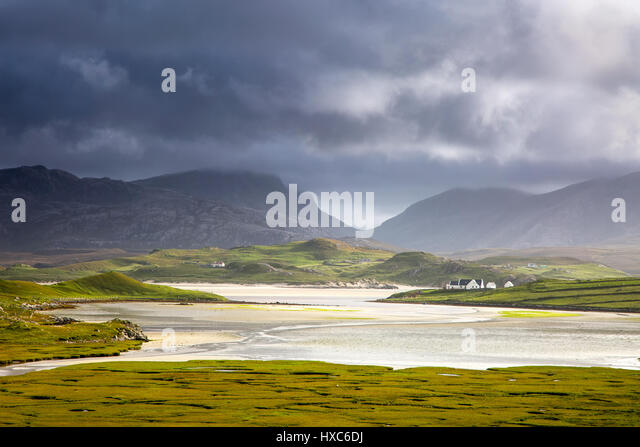 Tranquil view of mountains and water, Uig, Isle of Lewis, Outer Hebrides - Stock Image