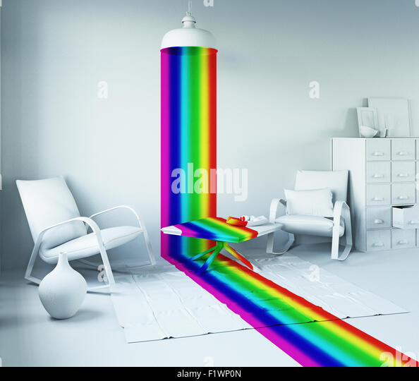 Rainbow color light from the lamp in a white interior. Art-style 3d concept - Stock Image