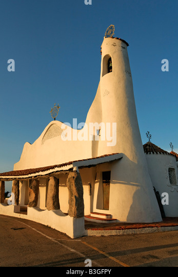Italy Sardinia Costa Smeralda Porto Cervo Stella Maris church - Stock Image