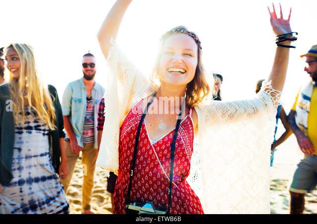 Teenagers Friends Beach Party Happiness Concept - Stock Image