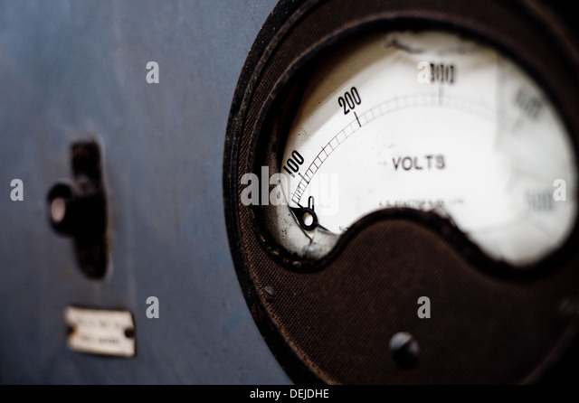 Dials for taking measurements in disused warehouse in South Wales UK - Stock-Bilder