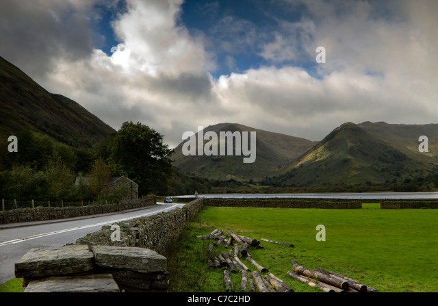 Brothers Water at Hartsop on the road towards the Kirkstone Passfrom Glenridding, Lake District, Cumbria - Stock Image