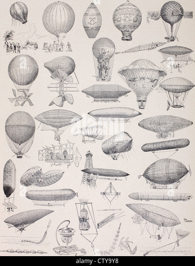 Hot air balloons throughout history.... - Stock-Bilder