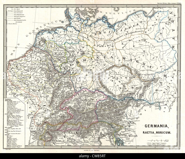 1865 Spruner Map of Germany in Antiquity - Stock Image