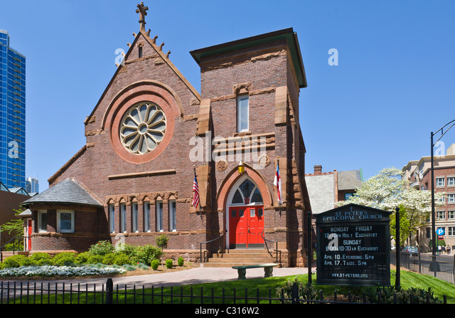 St Peters Episcopal Church in downtown Charlotte North Carolina - Stock Image