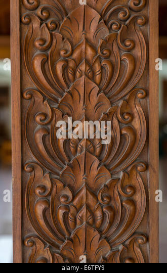 Lotus wood carving stock photos