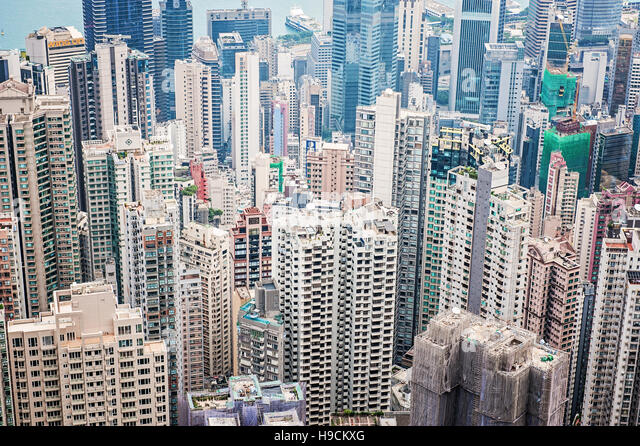View of Hong Kong Island Skyscrapers from above - Stock Image